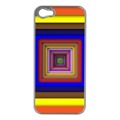 Square Abstract Geometric Art Apple Iphone 5 Case (silver) by Amaryn4rt