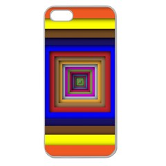 Square Abstract Geometric Art Apple Seamless Iphone 5 Case (clear) by Amaryn4rt