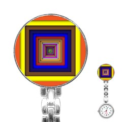 Square Abstract Geometric Art Stainless Steel Nurses Watch by Amaryn4rt