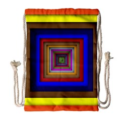 Square Abstract Geometric Art Drawstring Bag (large) by Amaryn4rt