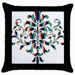 Damask Decorative Ornamental Throw Pillow Case (black) by Amaryn4rt