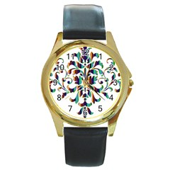 Damask Decorative Ornamental Round Gold Metal Watch by Amaryn4rt