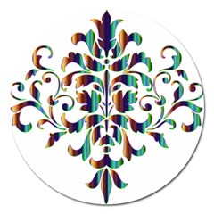Damask Decorative Ornamental Magnet 5  (round) by Amaryn4rt