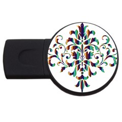 Damask Decorative Ornamental Usb Flash Drive Round (2 Gb) by Amaryn4rt