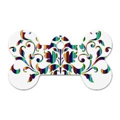 Damask Decorative Ornamental Dog Tag Bone (two Sides) by Amaryn4rt