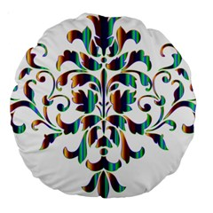 Damask Decorative Ornamental Large 18  Premium Round Cushions by Amaryn4rt