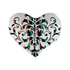 Damask Decorative Ornamental Standard 16  Premium Heart Shape Cushions by Amaryn4rt