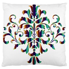 Damask Decorative Ornamental Large Flano Cushion Case (one Side) by Amaryn4rt