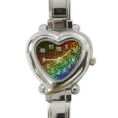 Construction Paper Iridescent Heart Italian Charm Watch by Amaryn4rt