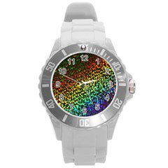 Construction Paper Iridescent Round Plastic Sport Watch (l) by Amaryn4rt