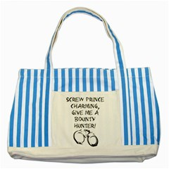 Give Me A Bounty Hunter! Striped Blue Tote Bag by badwolf1988store