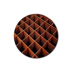 Metal Grid Framework Creates An Abstract Rubber Round Coaster (4 Pack)  by Amaryn4rt