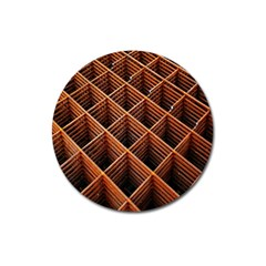 Metal Grid Framework Creates An Abstract Magnet 3  (round) by Amaryn4rt