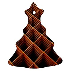 Metal Grid Framework Creates An Abstract Christmas Tree Ornament (two Sides) by Amaryn4rt