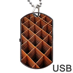 Metal Grid Framework Creates An Abstract Dog Tag Usb Flash (two Sides) by Amaryn4rt