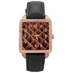 Metal Grid Framework Creates An Abstract Rose Gold Leather Watch  by Amaryn4rt