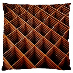Metal Grid Framework Creates An Abstract Large Flano Cushion Case (two Sides) by Amaryn4rt