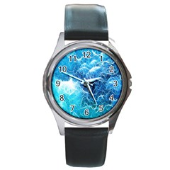 Fractal Occean Waves Artistic Background Round Metal Watch by Amaryn4rt