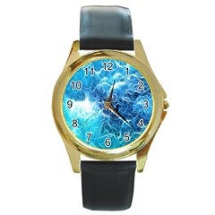 Fractal Occean Waves Artistic Background Round Gold Metal Watch by Amaryn4rt