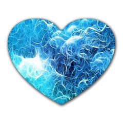 Fractal Occean Waves Artistic Background Heart Mousepads by Amaryn4rt