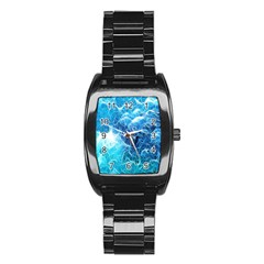 Fractal Occean Waves Artistic Background Stainless Steel Barrel Watch by Amaryn4rt