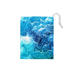 Fractal Occean Waves Artistic Background Drawstring Pouches (small)  by Amaryn4rt
