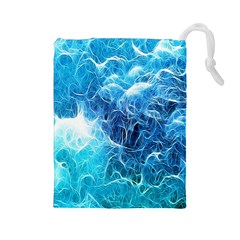 Fractal Occean Waves Artistic Background Drawstring Pouches (large)