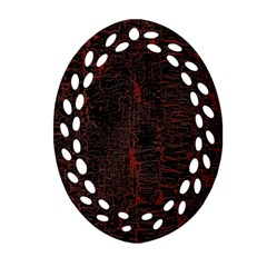 Black And Red Background Oval Filigree Ornament (two Sides) by Amaryn4rt