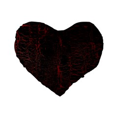 Black And Red Background Standard 16  Premium Heart Shape Cushions by Amaryn4rt