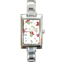 Colorful Floral Wallpaper Background Pattern Rectangle Italian Charm Watch by Amaryn4rt