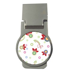 Colorful Floral Wallpaper Background Pattern Money Clips (round)  by Amaryn4rt