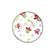 Colorful Floral Wallpaper Background Pattern Hat Clip Ball Marker by Amaryn4rt