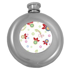 Colorful Floral Wallpaper Background Pattern Round Hip Flask (5 Oz) by Amaryn4rt