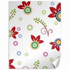 Colorful Floral Wallpaper Background Pattern Canvas 18  X 24