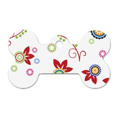 Colorful Floral Wallpaper Background Pattern Dog Tag Bone (two Sides) by Amaryn4rt