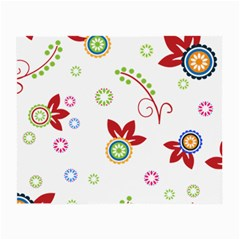 Colorful Floral Wallpaper Background Pattern Small Glasses Cloth (2 Side) by Amaryn4rt