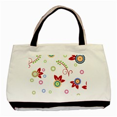 Colorful Floral Wallpaper Background Pattern Basic Tote Bag (two Sides) by Amaryn4rt