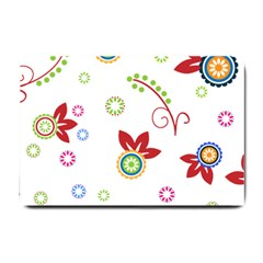 Colorful Floral Wallpaper Background Pattern Small Doormat  by Amaryn4rt