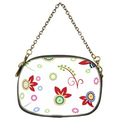 Colorful Floral Wallpaper Background Pattern Chain Purses (two Sides)  by Amaryn4rt