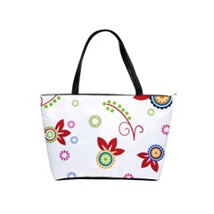 Colorful Floral Wallpaper Background Pattern Shoulder Handbags by Amaryn4rt