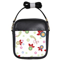 Colorful Floral Wallpaper Background Pattern Girls Sling Bags by Amaryn4rt