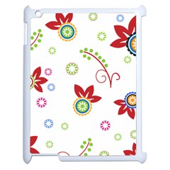Colorful Floral Wallpaper Background Pattern Apple Ipad 2 Case (white) by Amaryn4rt