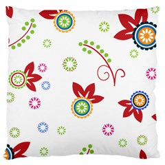 Colorful Floral Wallpaper Background Pattern Large Cushion Case (two Sides) by Amaryn4rt