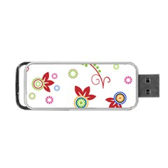 Colorful Floral Wallpaper Background Pattern Portable Usb Flash (two Sides) by Amaryn4rt