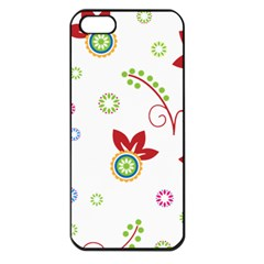 Colorful Floral Wallpaper Background Pattern Apple Iphone 5 Seamless Case (black) by Amaryn4rt