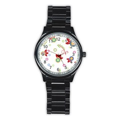Colorful Floral Wallpaper Background Pattern Stainless Steel Round Watch by Amaryn4rt