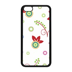 Colorful Floral Wallpaper Background Pattern Apple Iphone 5c Seamless Case (black) by Amaryn4rt
