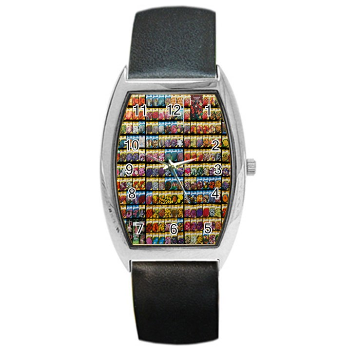 Flower Seeds For Sale At Garden Center Pattern Barrel Style Metal Watch