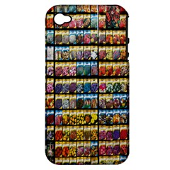Flower Seeds For Sale At Garden Center Pattern Apple Iphone 4/4s Hardshell Case (pc+silicone) by Amaryn4rt