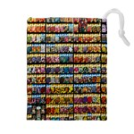 Flower Seeds For Sale At Garden Center Pattern Drawstring Pouches (Extra Large) Front
